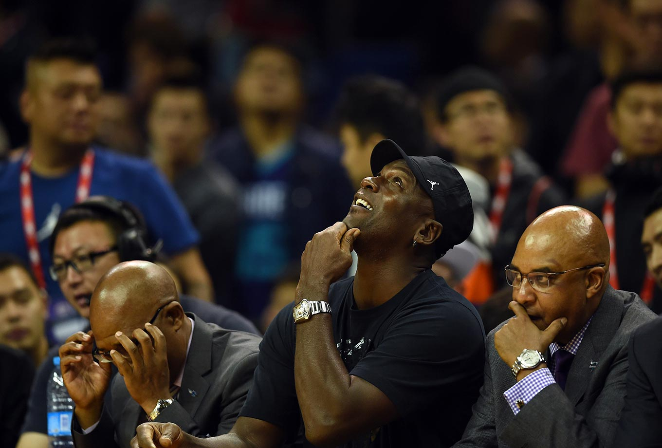 Michael Jordan at the 2015 NBA Global Games China preseason basketball match in Shanghai.