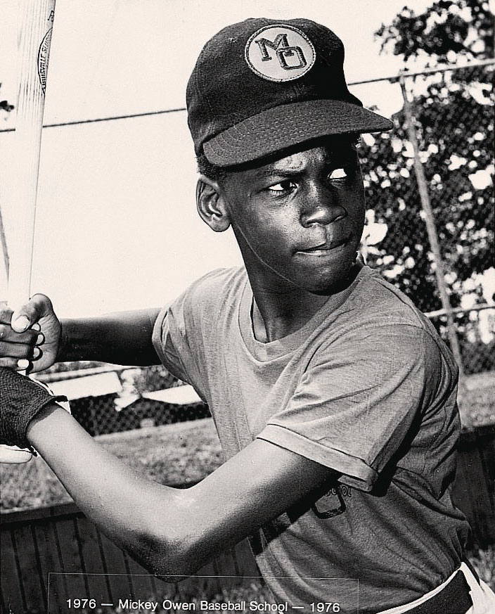 A 13-year-old Michael Jordan poses at the Mickey Owen Baseball School in 1976.