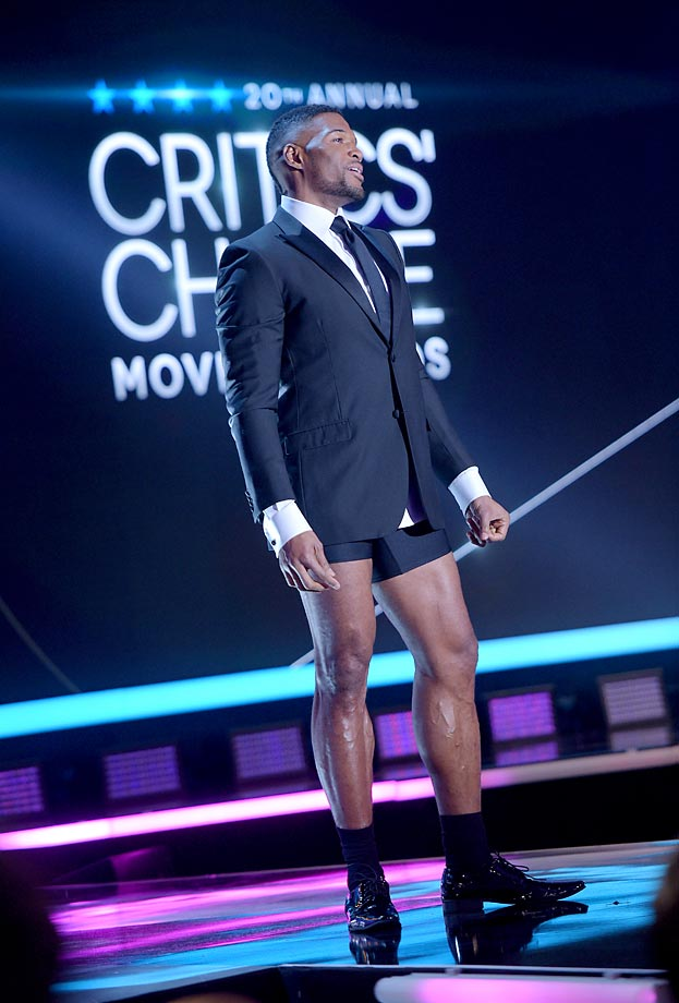 Michael Strahan onstage at the 20th annual Critics' Choice Movie Awards.