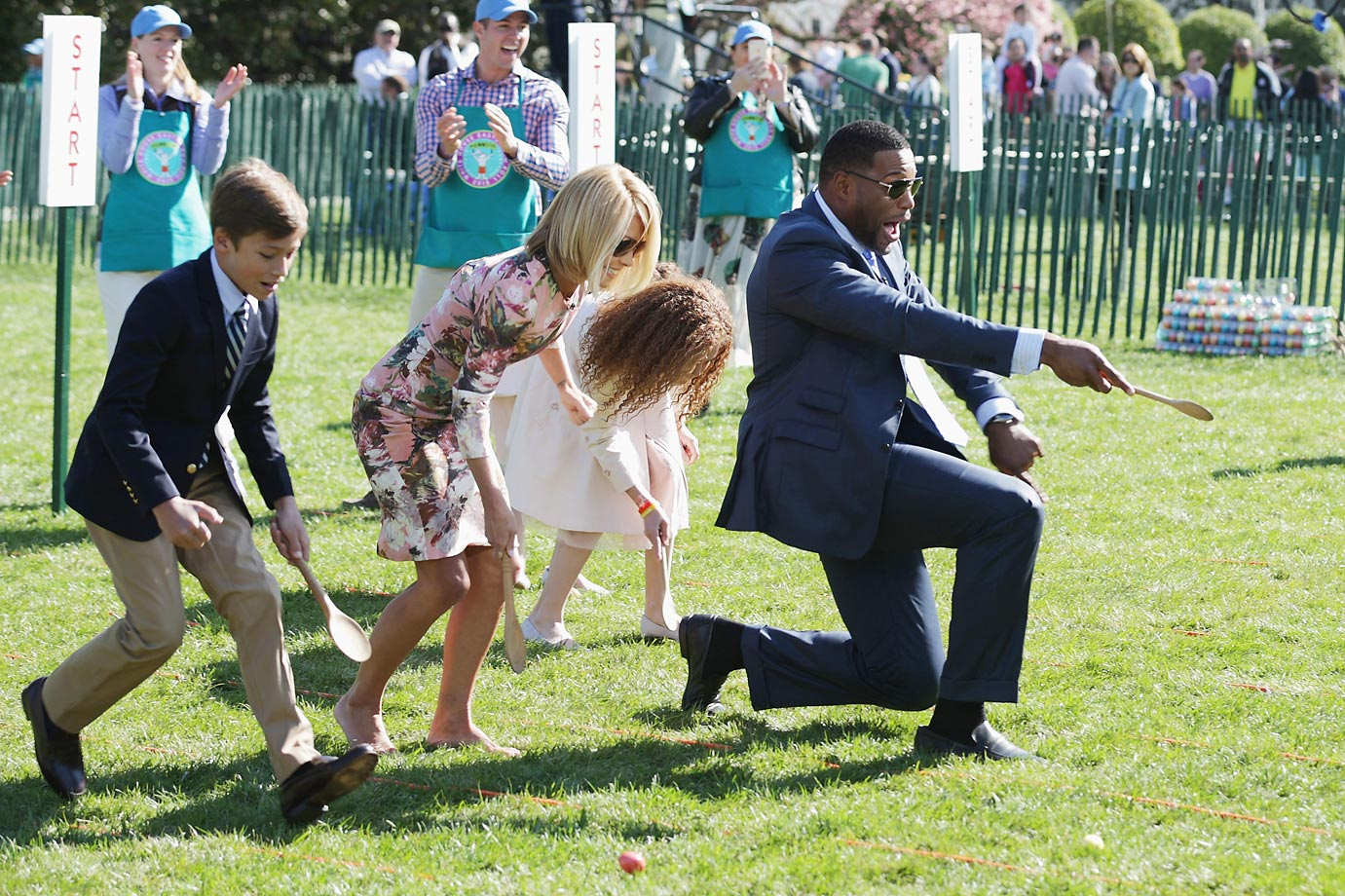 Kelly Ripa and Michael Strahan participate in the White House Easter Egg Roll on the South Lawn.