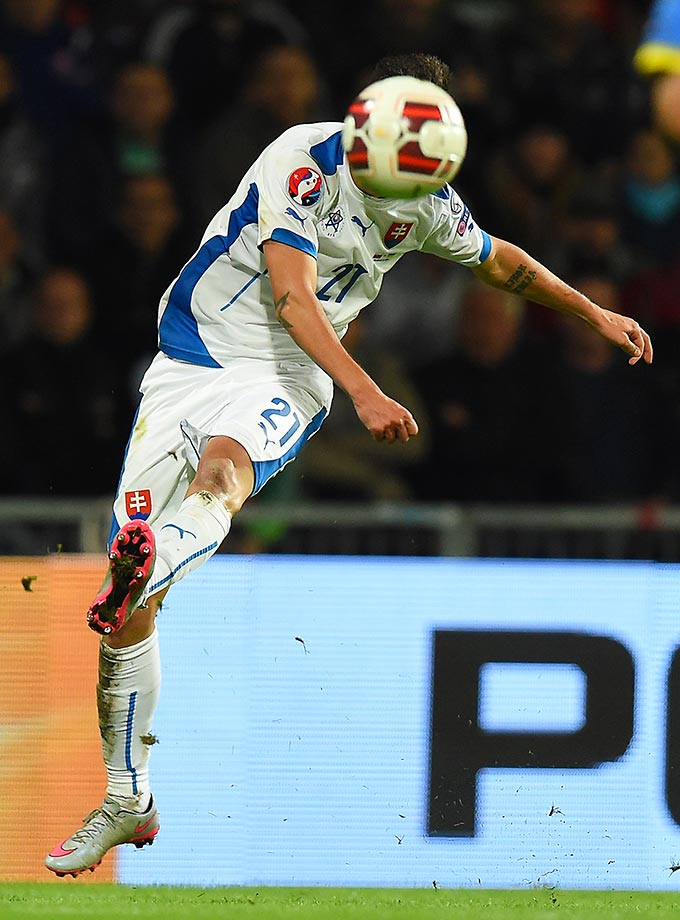 Michal Duris of Slovakia playing against Ukraine at the MSK stadium in Zilina, Slovakia.