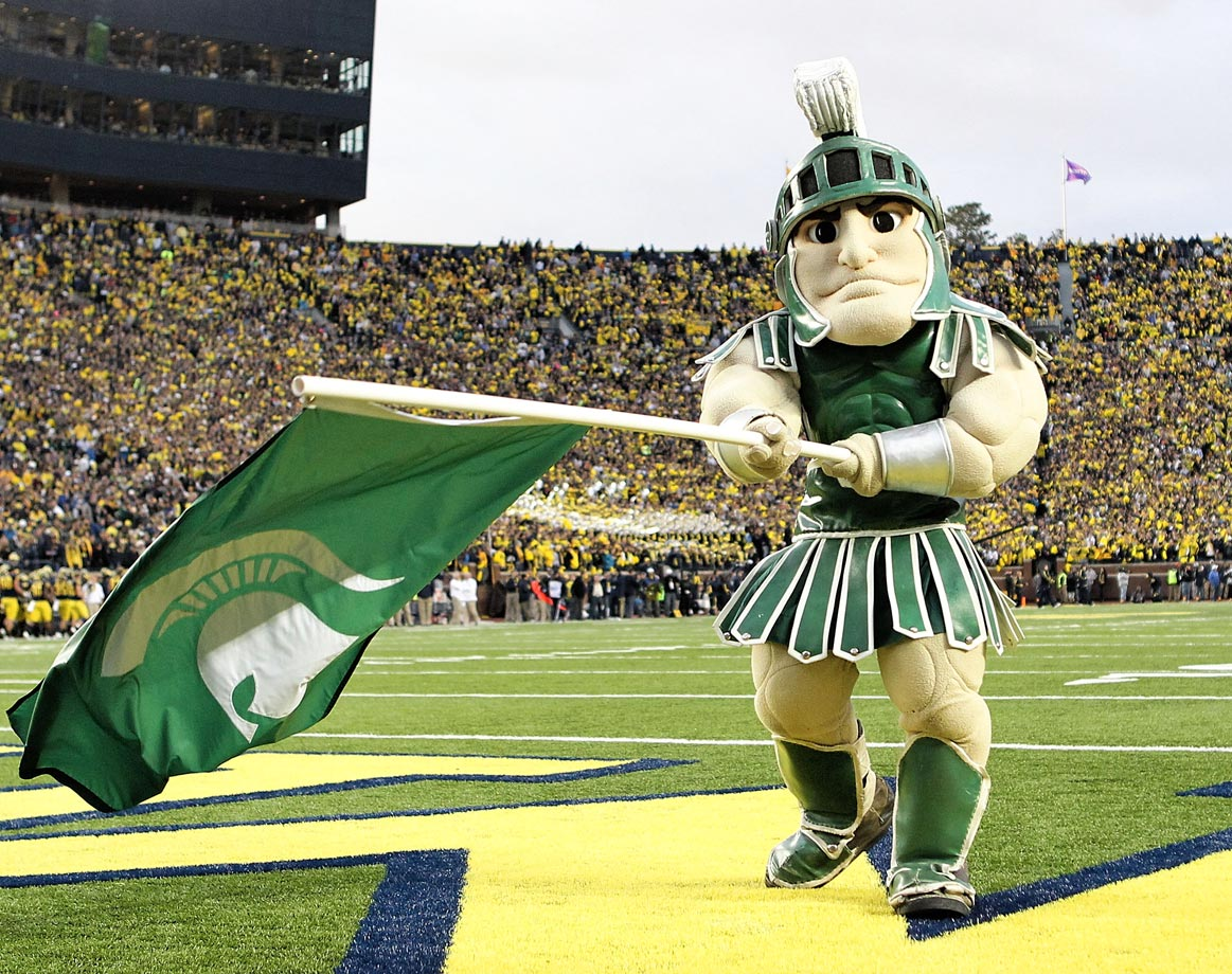 "#13: Michigan State's Sparty — A relic from a time when people decided to make humans look like weird Play-Doh men (also: see Boilermaker Special), Sparty is always active and in surprisingly good spirits, no matter how many ""Sparty No"" moments pop up."