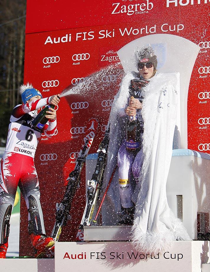 Mikaela Shiffrin of the U.S. celebrates first place at the Audi FIS Alpine Ski World Cup.