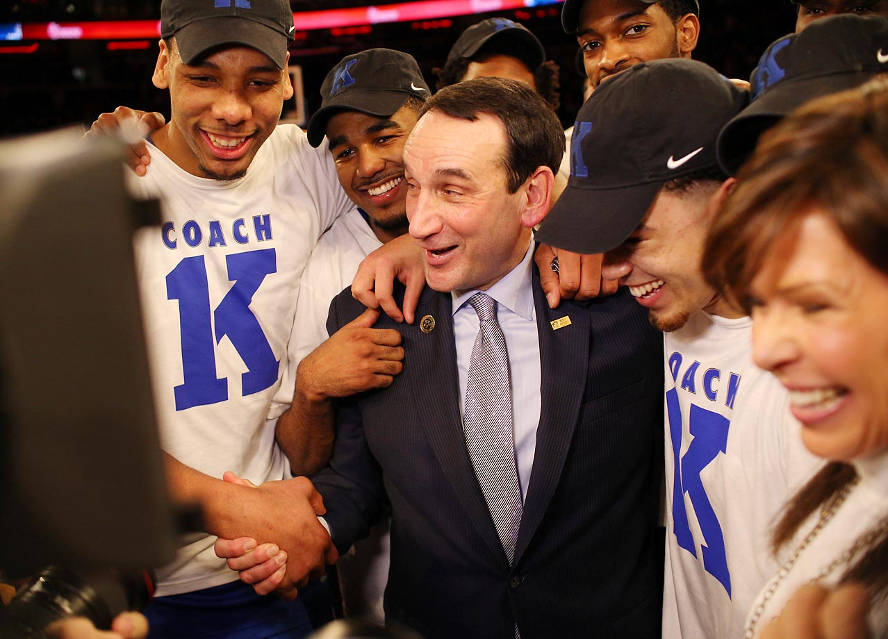 Duke head coach Mike Krzyzewski celebrates his 1,000th win, at Madison Square Garden on Jan. 25.