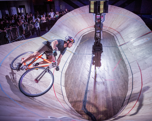 Austin Horse finds yet another turn on the tight track at Red Bull Mini Drome in Brooklyn, NY.