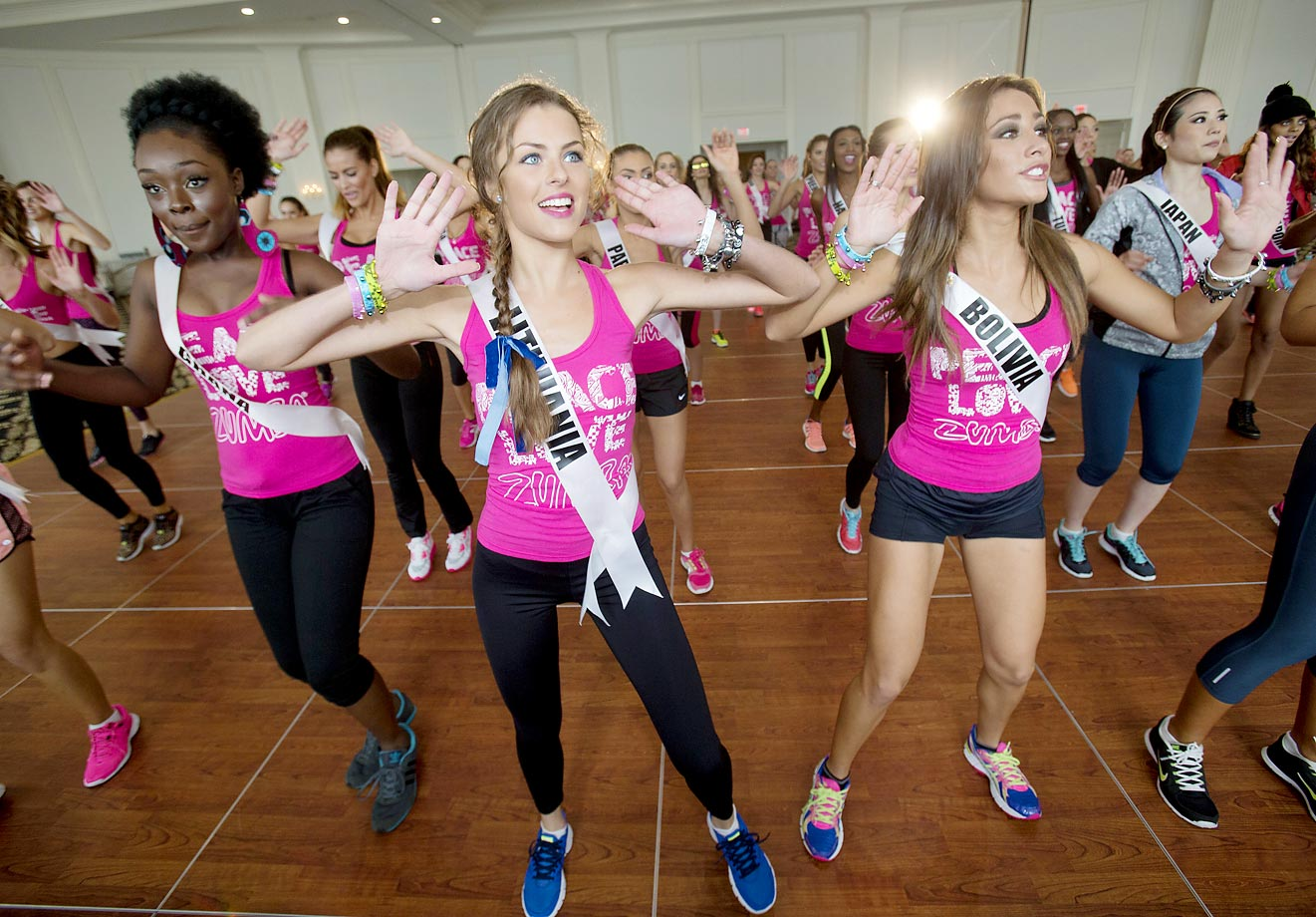 Contestants participate in a Zumba Class to warm up for the upcoming Miss Universe pageant in Miami.