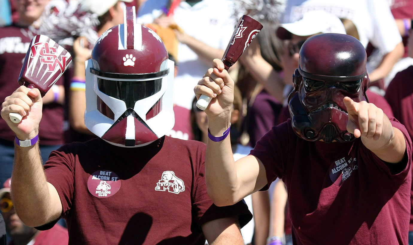 Mississippi State students wear clone trooper and stormtrooper masks during the team's football game against Alcorn State on Oct. 2, 2010 at Davis Wade Stadium in Starkville, Miss.