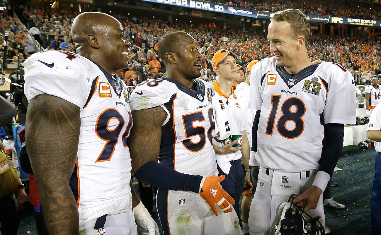 DeMarcus Ware, Von Miller and Peyton Manning celebrate their Super Bowl 50 win.
