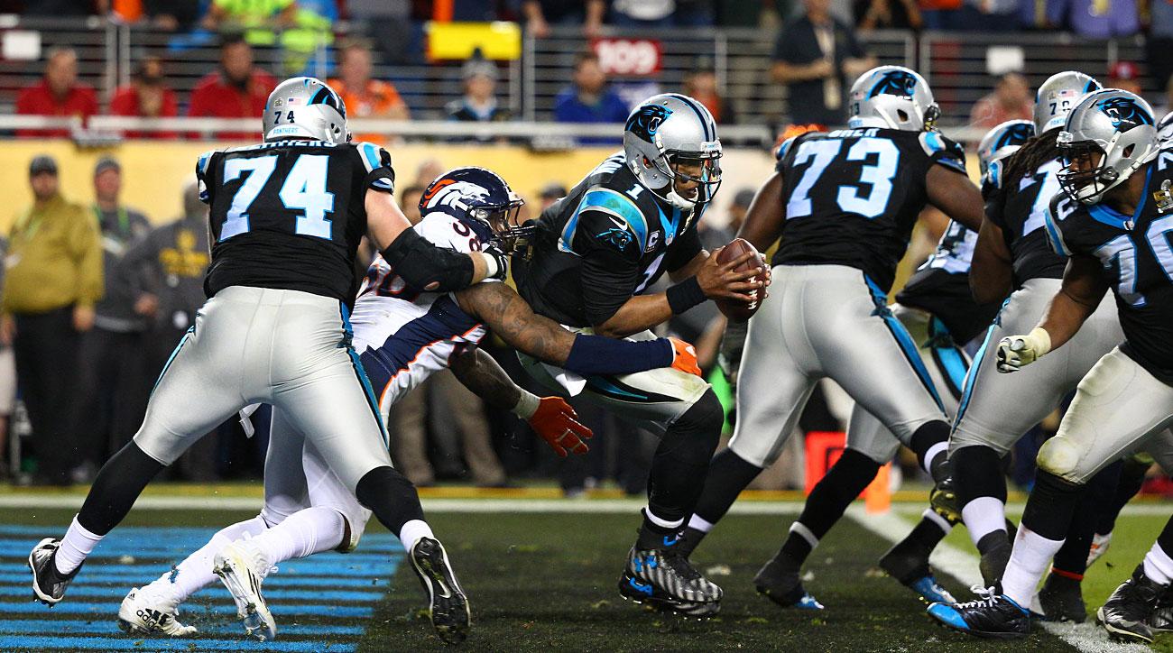 Von Miller pressures Cam Newton in the end zone during Super Bowl 50.