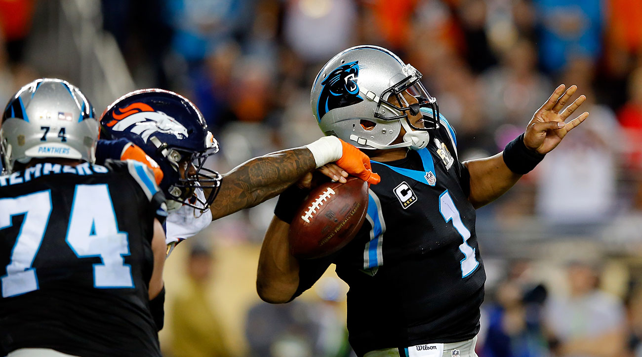 Von Miller strips Cam Newton of the ball for the second time in Super Bowl 50.