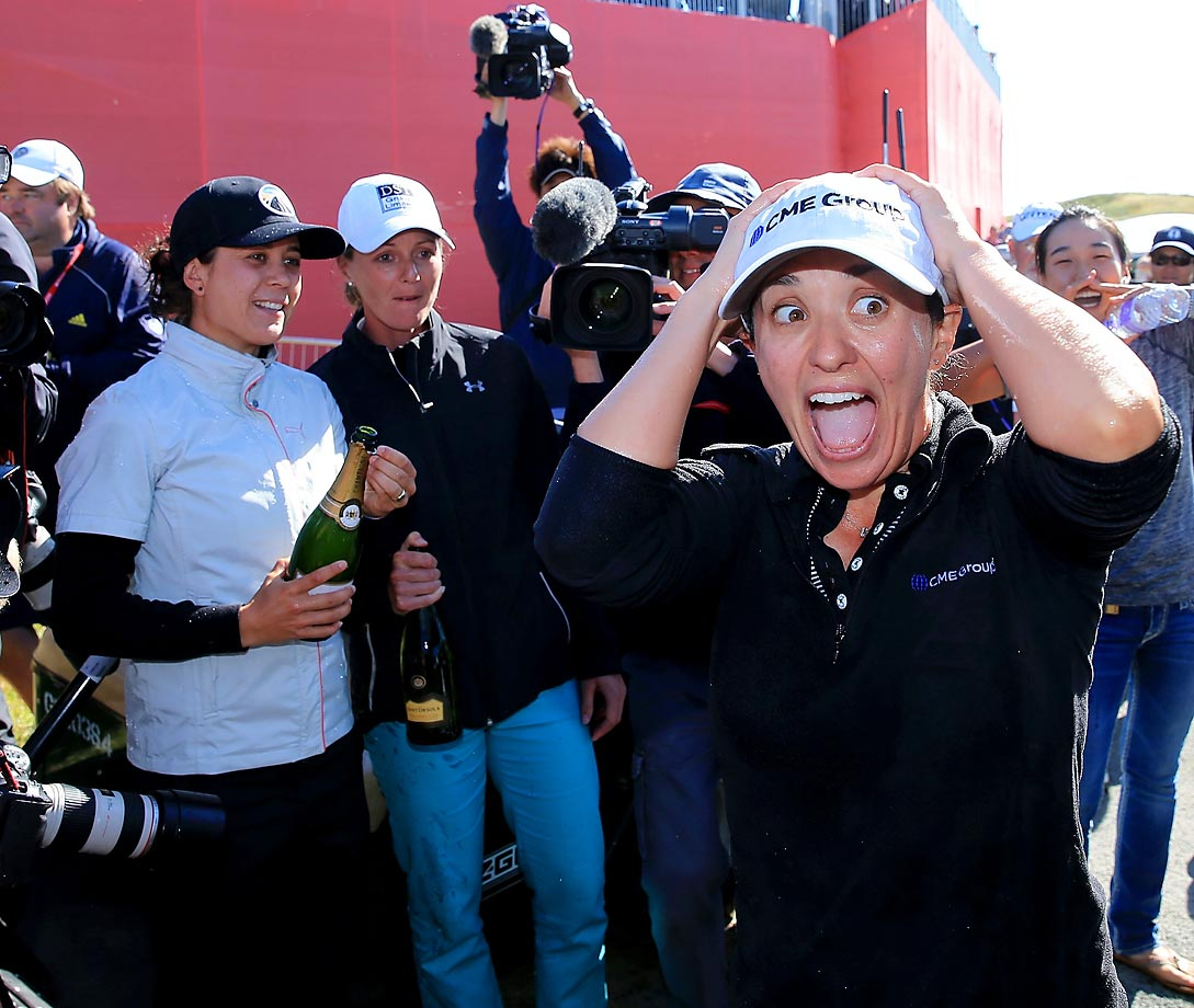 Mo Martin of the USA reacts to her victory during the final round of the 2014 Ricoh Women's British Open at Royal Birkdale on July 13, 2014 in Southport, England.