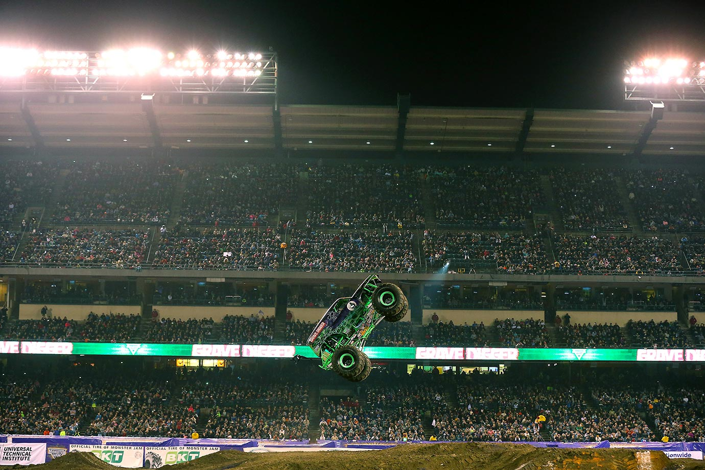 Grave Digger, with Dennis Anderson driving, gets some big air time.