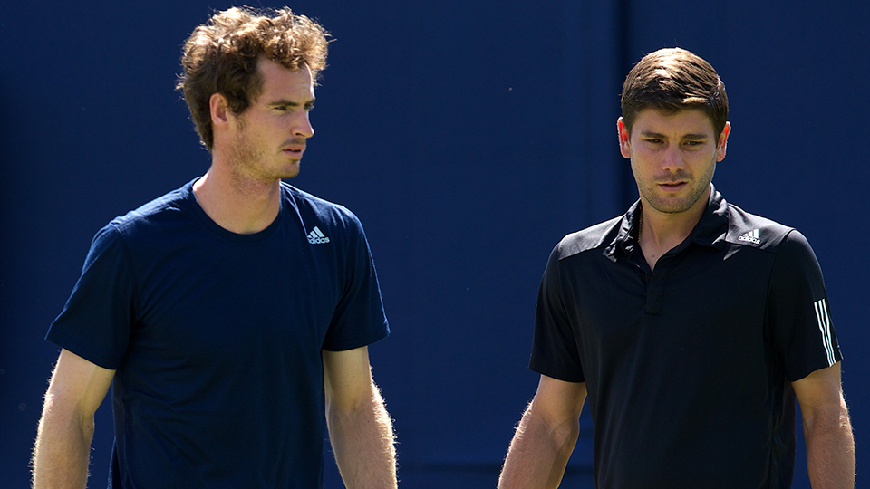 Murray practices with Vallverdu at the Queen's Club in June.