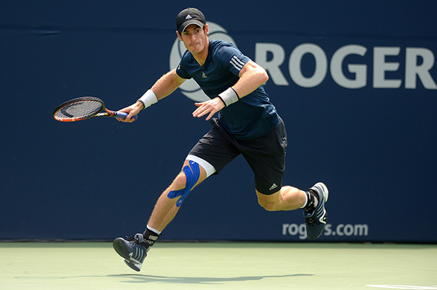 Andy Murray wearing KT Tape during a match.