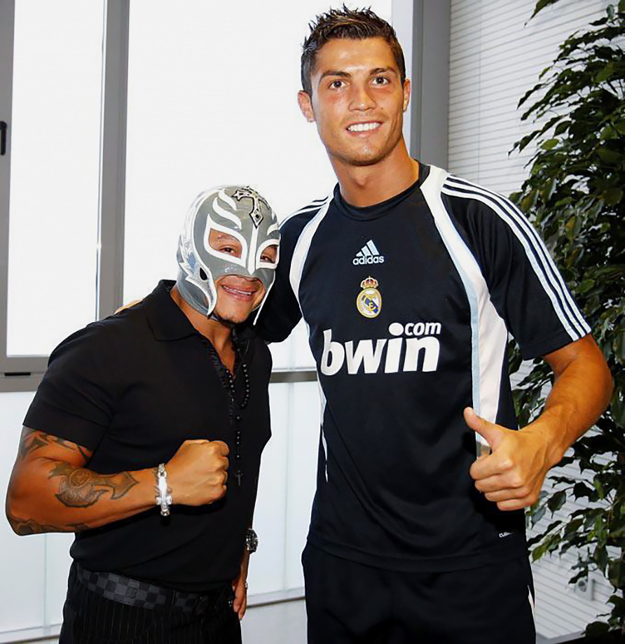 40677961cb255 WWE star Rey Mysterio with Cristiano Ronaldo as they visit Valdebebas in  Madrid.