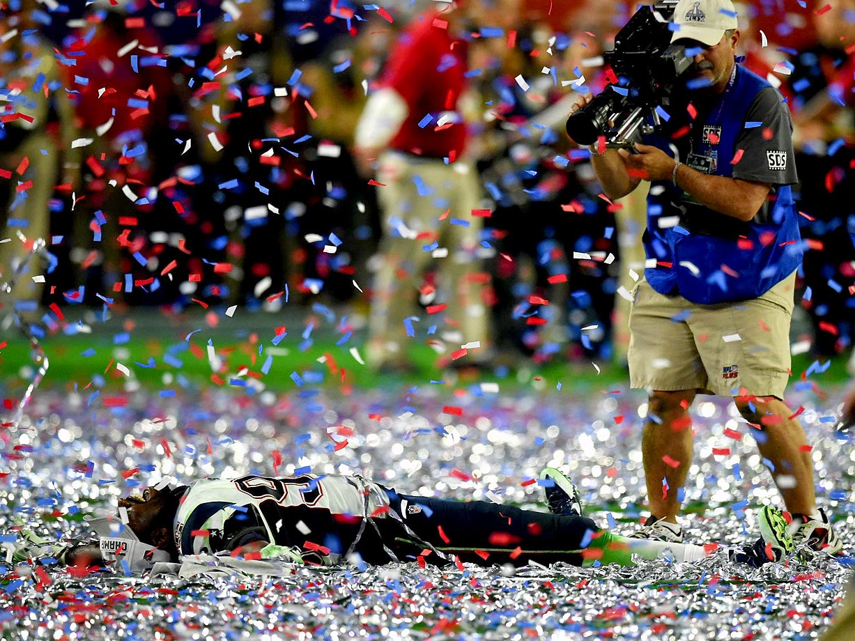 An unidentified New England Patriot celebrates their Super Bowl win.