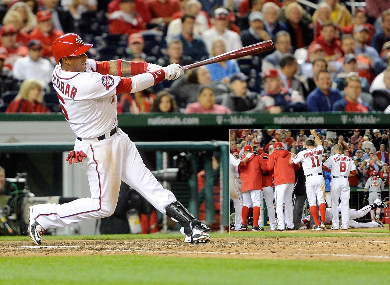 Yunel Escobar decided to slide into home plate after launching a 10-inning walk-off homer that gave the Washington Nationals a 2-1 win over St. Louis on April 21.
