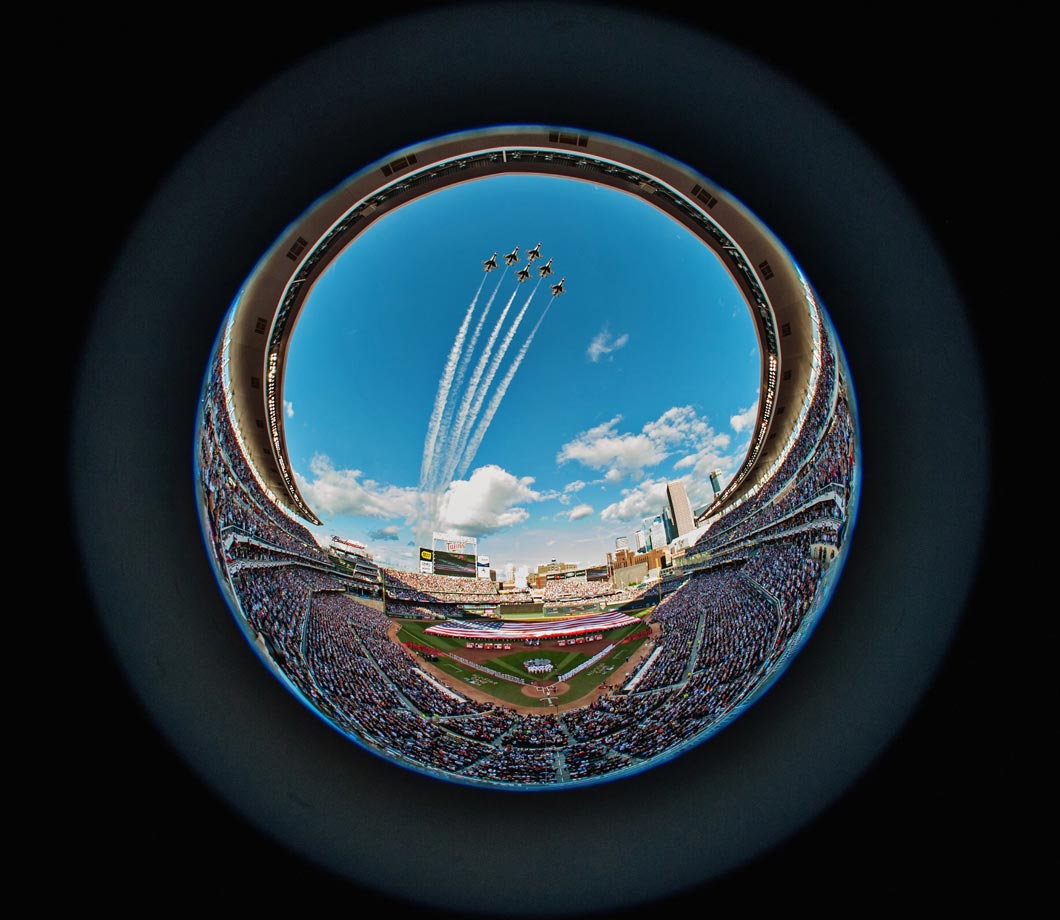 U.S. Air Force Thunderbirds flyover before the 85th MLB All-Star Game in Minneapolis.