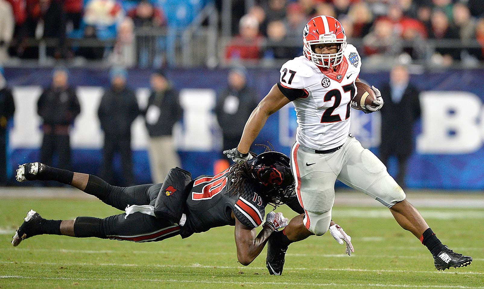 Chubb emerged as a consistent force behind Todd Gurley, powering through defenders with his thick frame. As his workload increased with Gurley's suspension and injury, Chubb averaged over seven yards per carry on his way to 1,547 yards.
