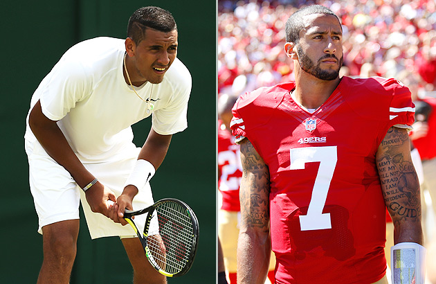 Nick Kyrgios has been compared to San Francisco 49ers quarterback Colin Kaepernick.