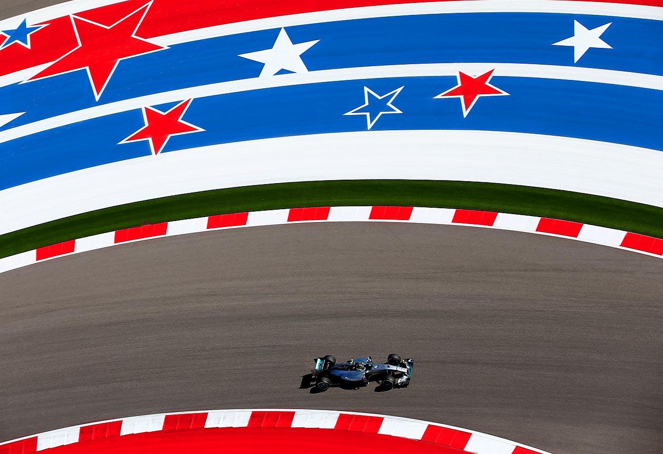 Nico Rosberg of Mercedes GP practices for the U.S. Grand Prix in Austin, Texas.