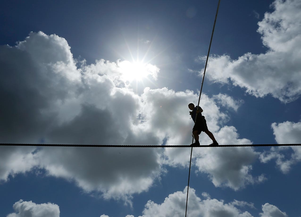 High wire performer Nik Wallenda practices June 18, 2014, in Sarasota, Fla. Wallenda, a seventh generation high-wire walker, walked across the Grand Canyon on June 23, 2013.