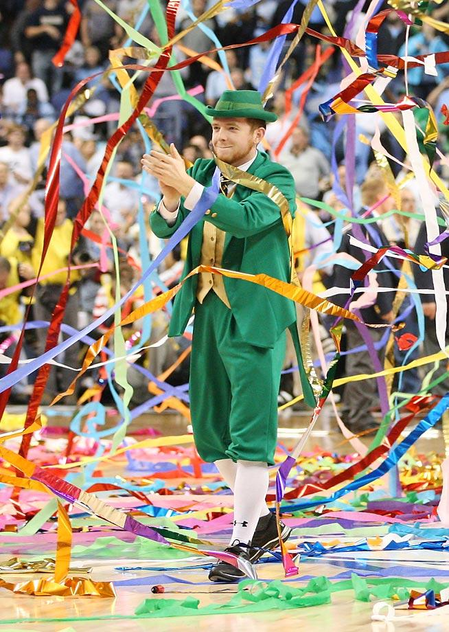 No. 5: Notre Dame's Leprechaun is a rare mascot, both in the sense that leprechauns themselves are rare but also in that the mascot is a real person rather than someone in a costume. The Leprechaun isn't the biggest in size or stature but he has no shortage of fight and emotion. (Text credit: Andrew Wittrey/SI.com)