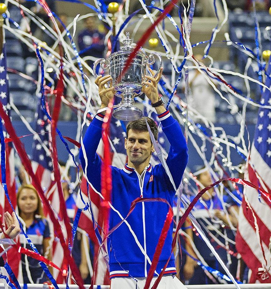 Novak Djokovic celebrates winning the U.S. Open.