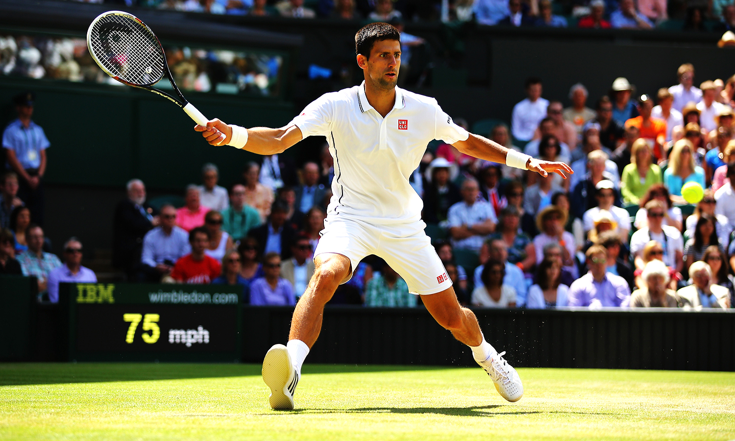 Props to Uniqlo for getting a little color in there, even if it's just black piping that contrasts nicely with their red logo. In a sea of all-white, Djokovic stands out.