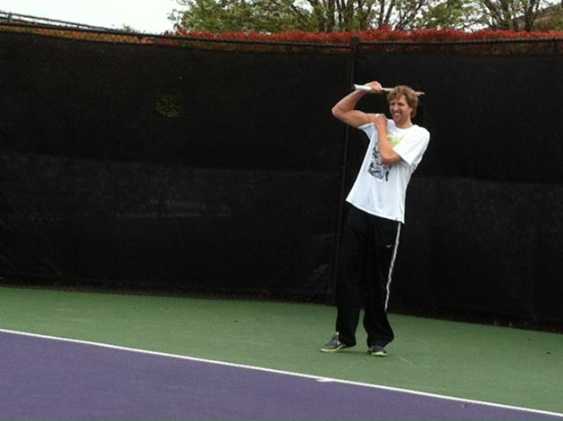 Nowitzki joined Tommy Haas on the court in Dallas to hit a few balls in 2012.