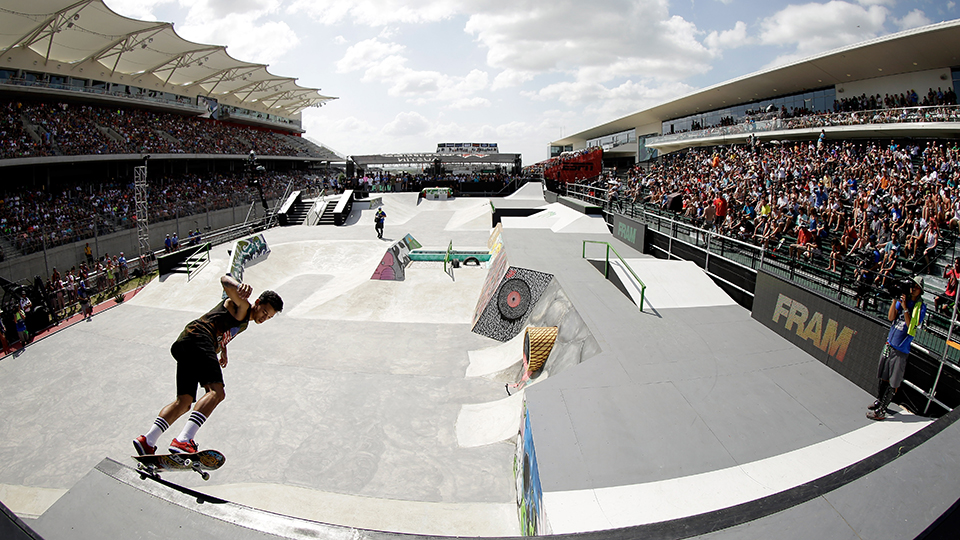 Nyjah Huston competes in the Skateboard Street finals during X Games Austin at Circuit of The Americas. Huston went on win the event in dramatic fashion, posting the highest point total in history.