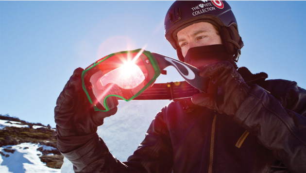 Snowboarder Shaun White with the new Oakley snow goggles featuring Prizm lenses.