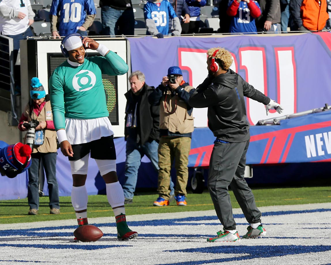 Odell Beckham Jr. of the New York Giants shows off his dance moves to Cam Newton of the Carolina Panthers.