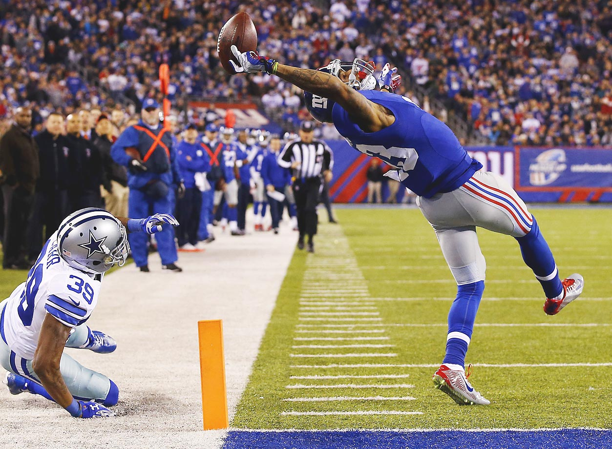 Giants wide receiver Odell Beckham Jr. made one of the best catches in NFL history in 2014, a 43-yard touchdown reception in the second quarter against the Dallas Cowboys.