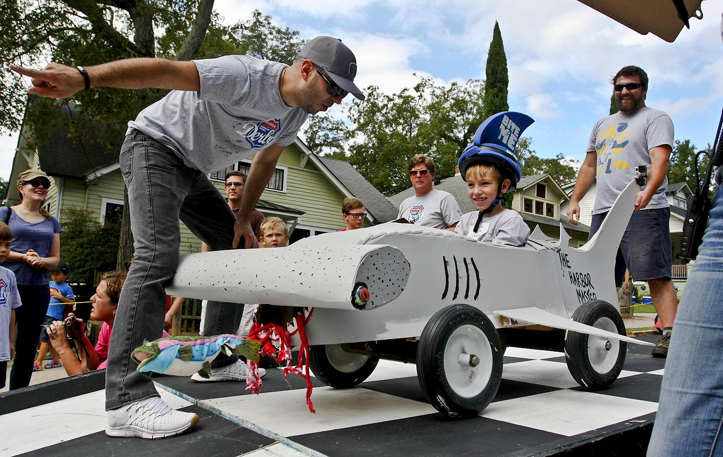 A hammerhead shark-shaped vehicle during the Madison Ave. Soapbox Derby.