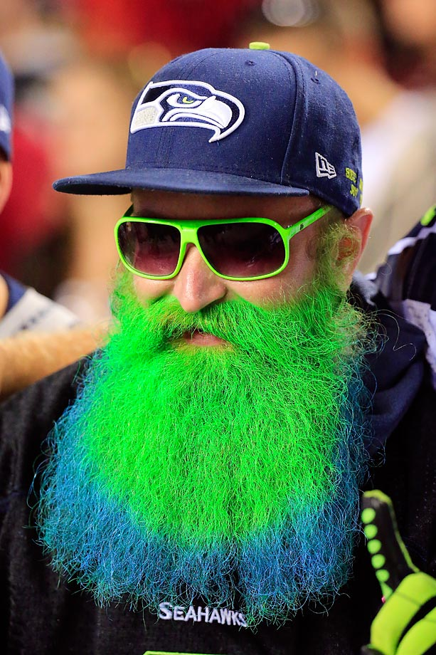 A Seahawks fan looks a little green during the game against the Redskins.