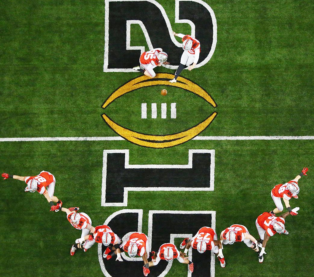 Ohio State lines up for a field-goal attempt during the warmup for the national championship game.