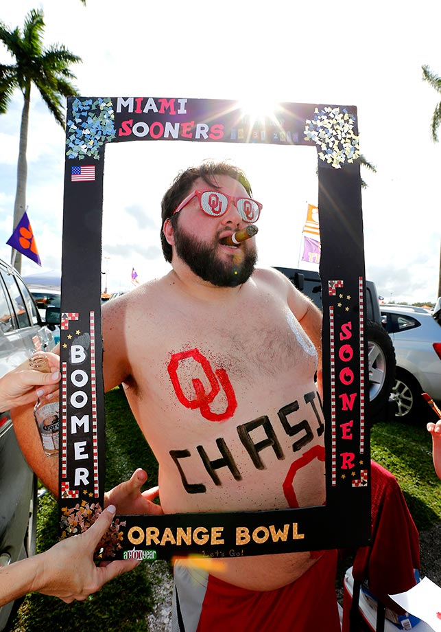 A framed Oklahoma fan.