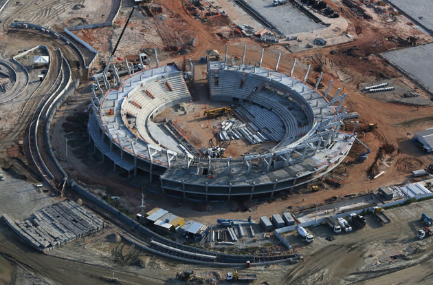 Construction continues at the Tennis Centre in the Olympic Park for the Rio 2016 Olympic Games in the Barra da Tijuca neighborhood.