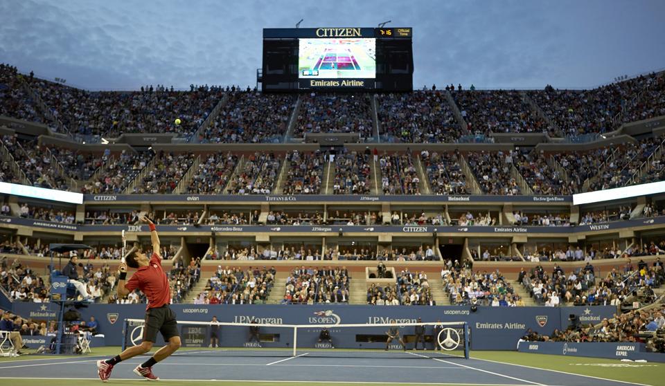 Novak Djokovic serving to Rafael Nadal during the men's Final of the 2013 U.S. Open.