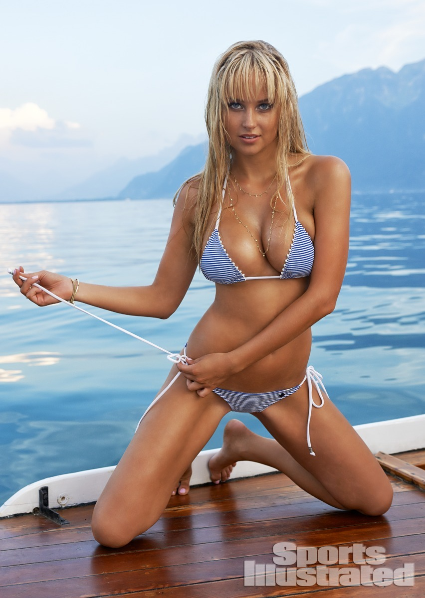 Genevieve Morton was photographed by Yu Tsai in Switzerland. Swimsuit by One Teaspoon.