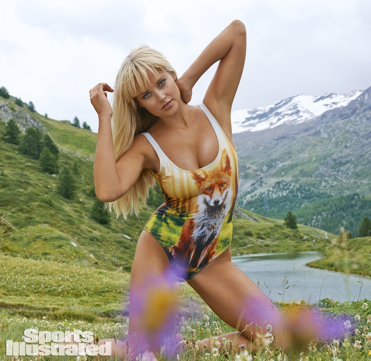 Genevieve Morton was photographed by Yu Tsai in Switzerland. Swimsuit by We Are Handsome.
