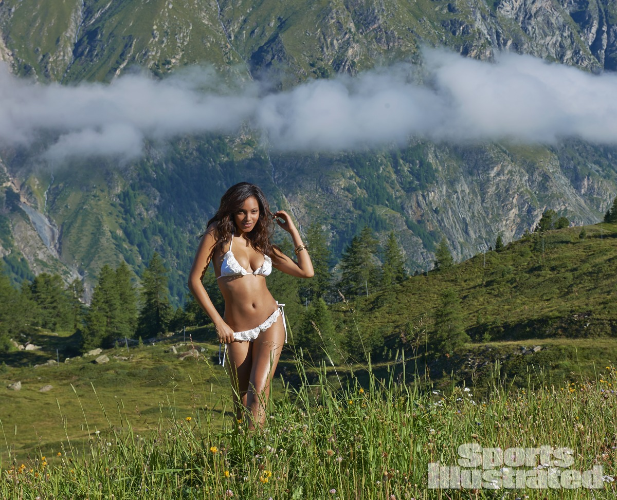 Ariel Meredith was photographed by Yu Tsai in Switzerland. Swimsuit by Bettinis.