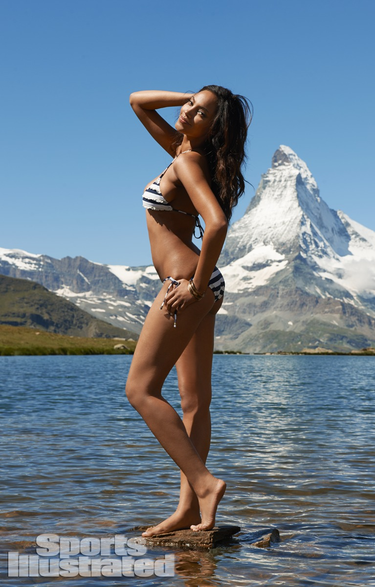 Ariel Meredith was photographed by Yu Tsai in Switzerland. Swimsuit by Xhilaration for Target.