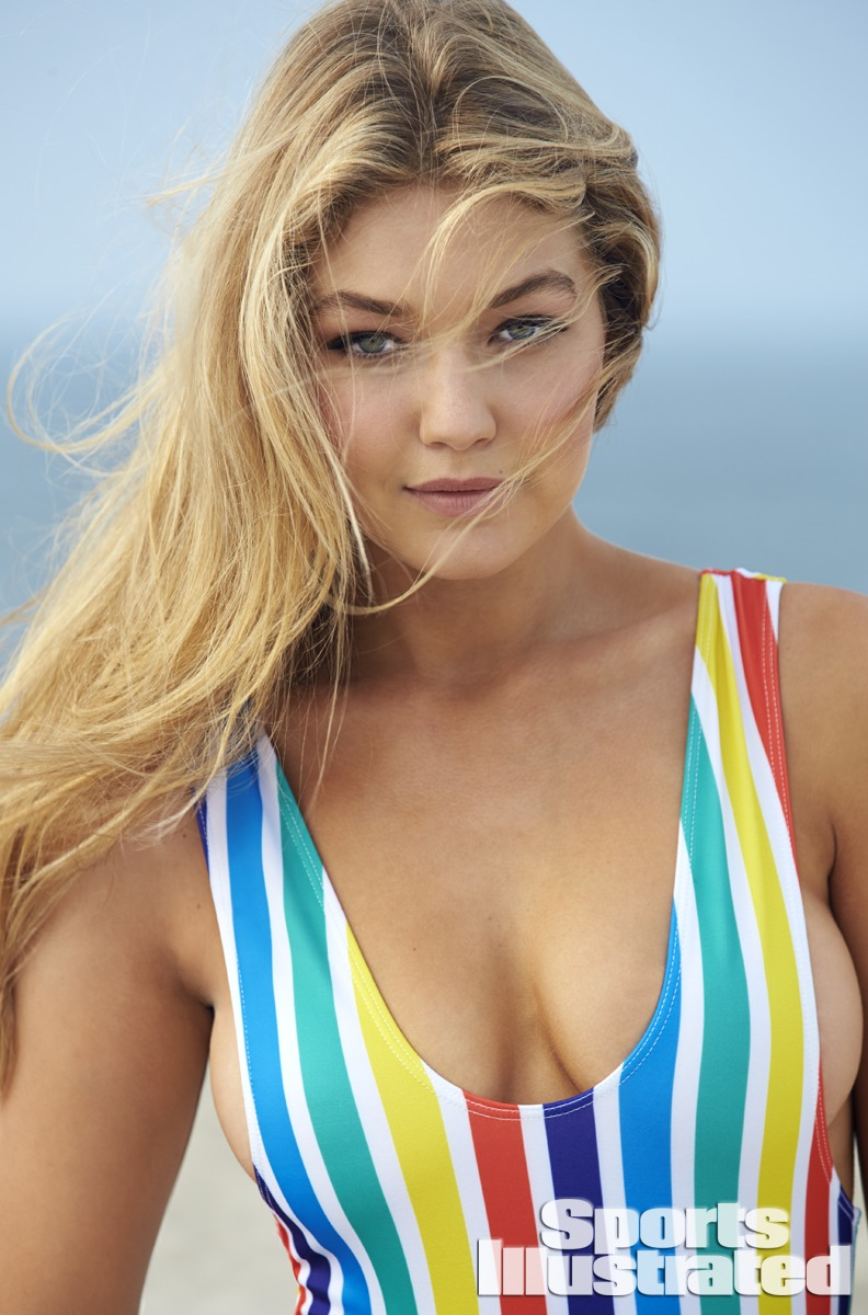 Gigi Hadid was photographed by Ben Watts at the Jersey Shore. Swimsuit by Beach Riot.