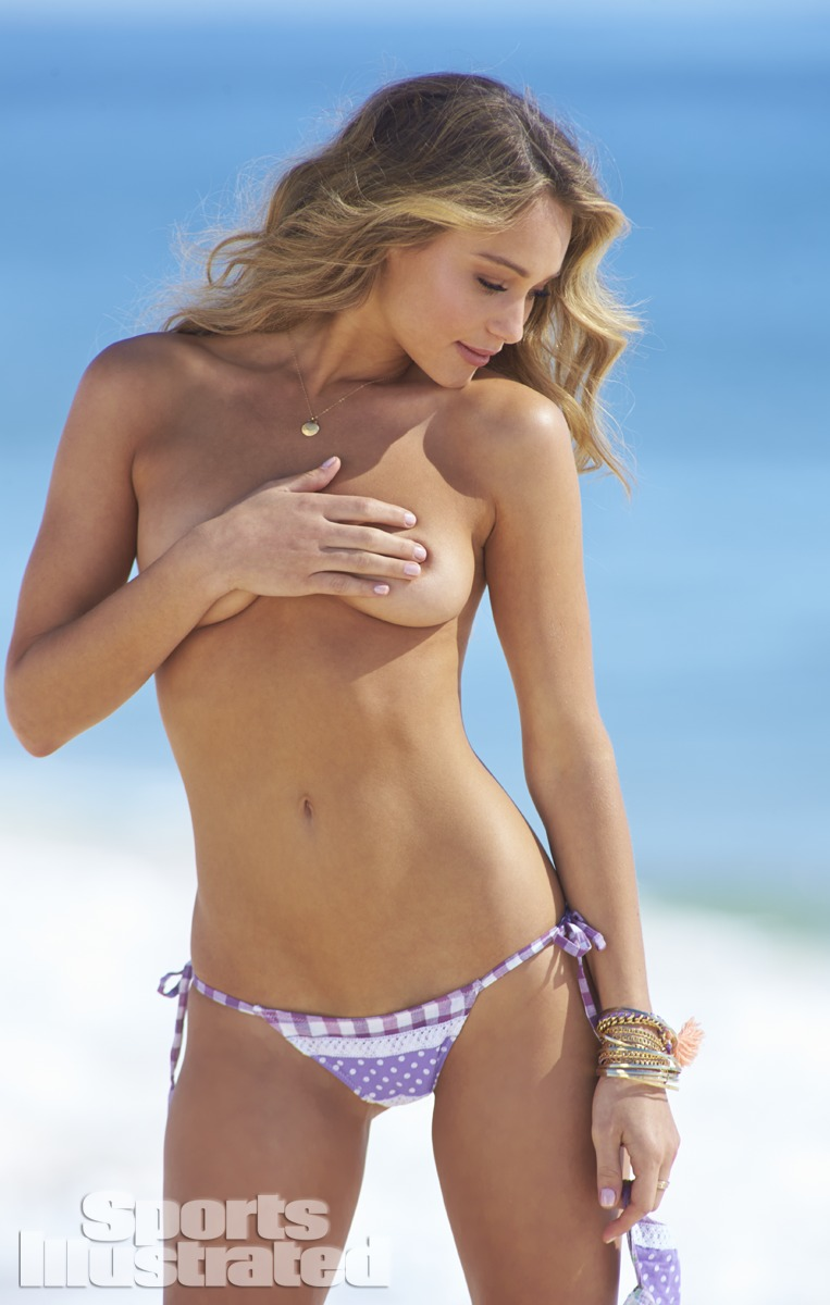 Hannah Davis was photographed by Ben Watts at the Jersey Shore. Swimsuit by Swimsuit by Trunkettes.