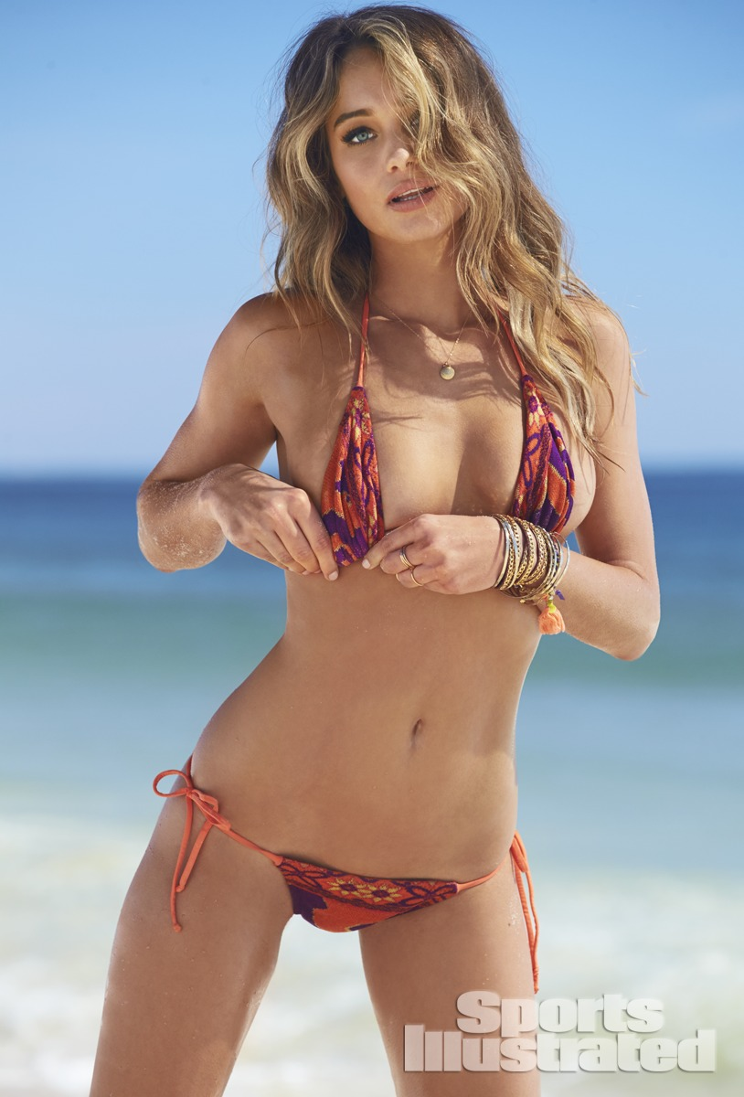 Hannah Davis was photographed by Ben Watts at the Jersey Shore. Swimsuit by Swimsuit by Cecilia Prado Mare.