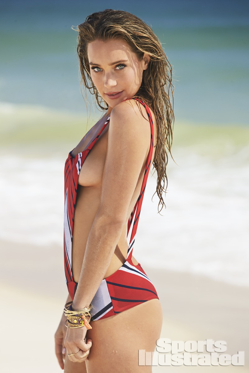 Hannah Davis was photographed by Ben Watts at the Jersey Shore. Swimsuit by Swimsuit by Indah.