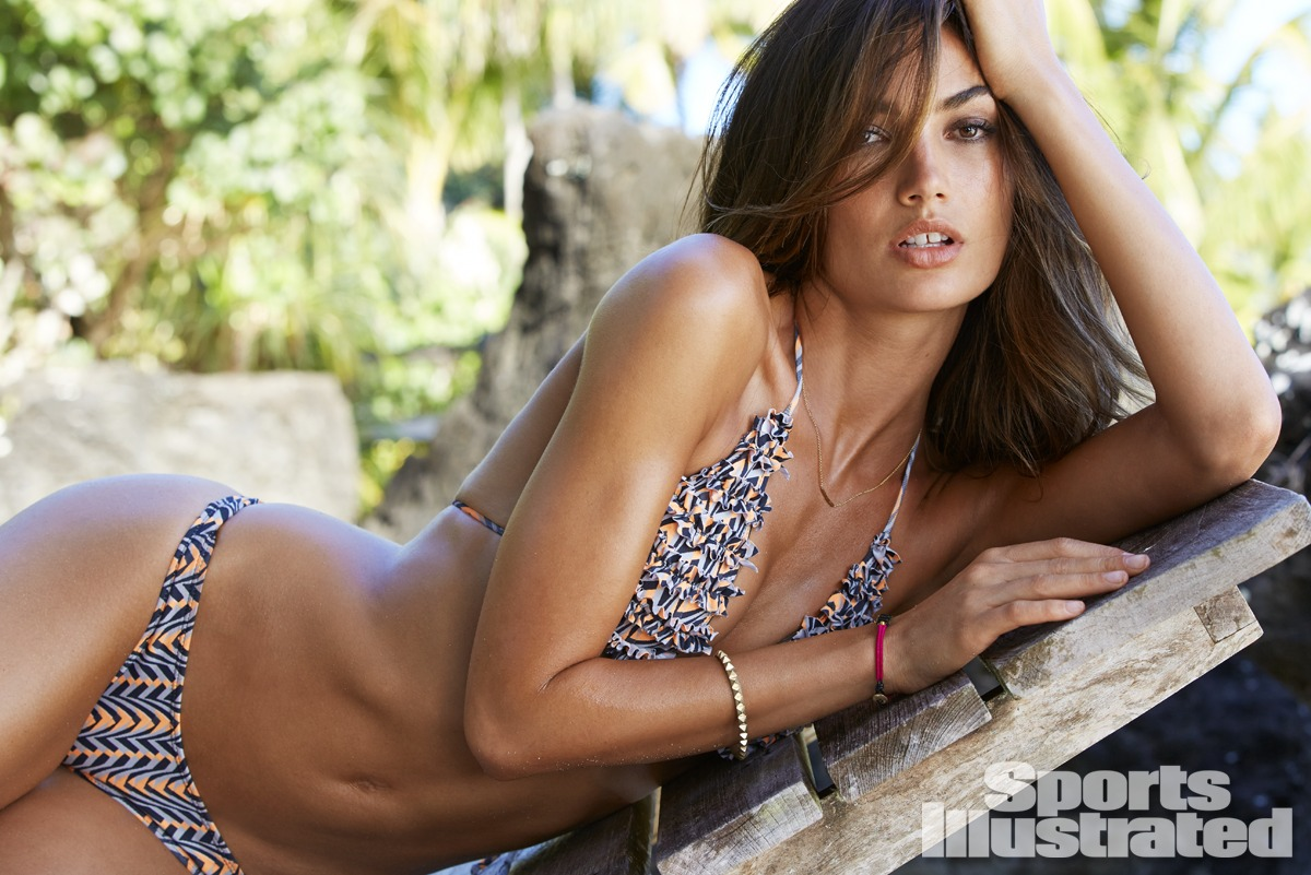Lily Aldridge was photographed by James Macari in the Cook Islands. Swimsuit by San Lorenzo.