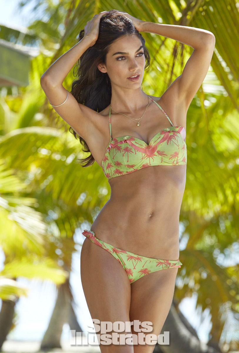 Lily Aldridge was photographed by James Macari in the Cook Islands. Swimsuit by TAVIK Swimwear.